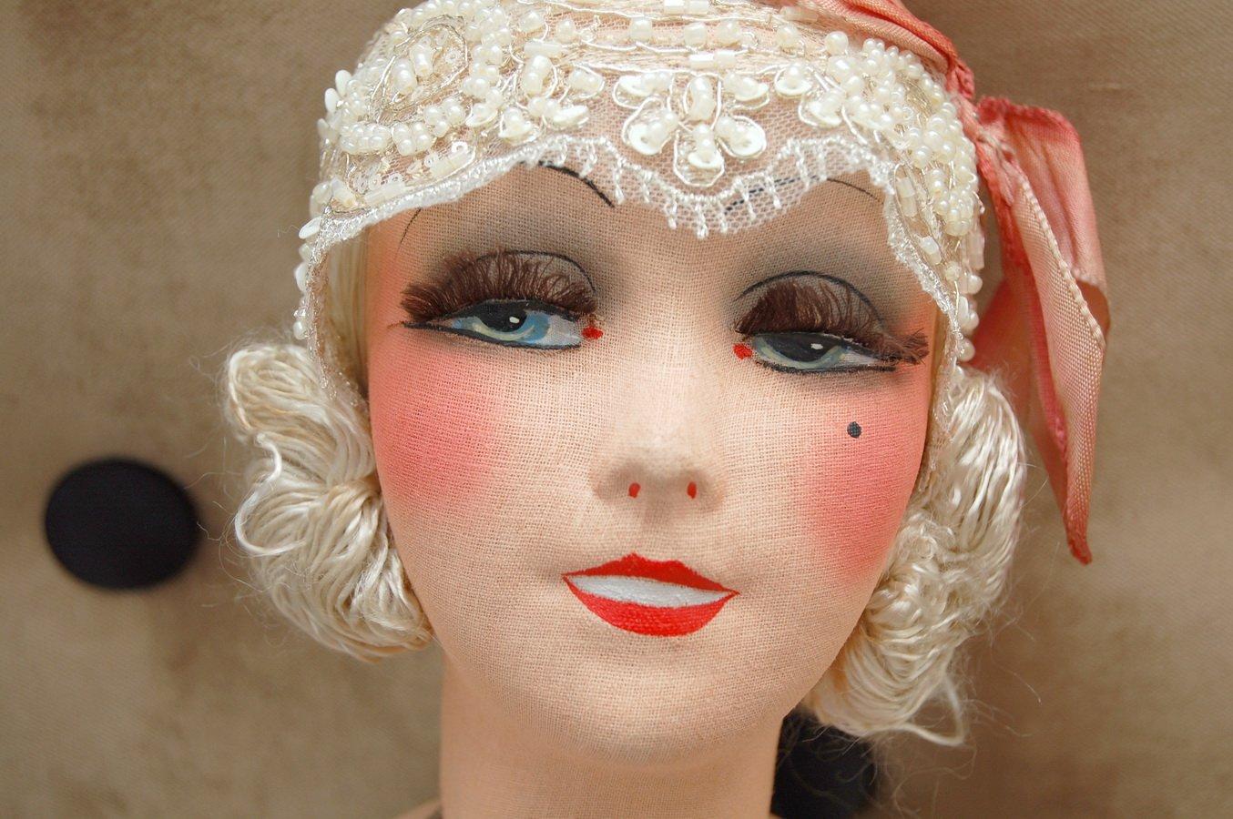 редкая антикварная будуарная кукла