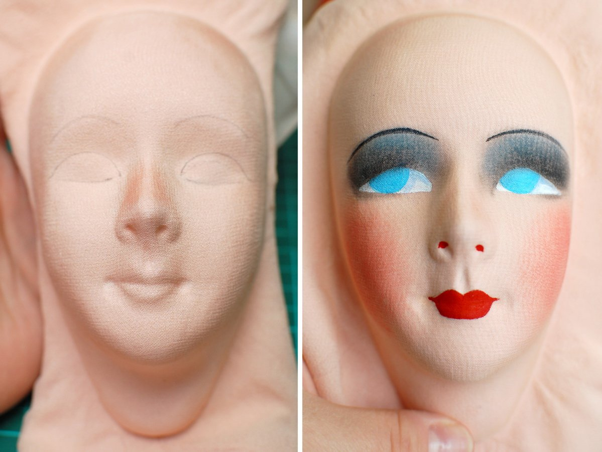 роспись лица авторской будуарной куклы